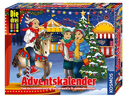 KOSMOS 634070 - Die drei !!! Adventskalender 2019, Finde das Geheimversteck auf dem Jahrmarkt in 24 spannenden Rätseln, Mit 24 Detektiv-Gimmicks, Interaktiver Spielzeug-Adventskalender für Kinder ab 8