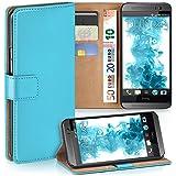 HTC One M8 Hülle Türkis mit Karten-Fach [OneFlow 360° Book Klapp-Hülle] Handytasche Kunst-Leder Handyhülle für HTC One M8/M8s Case Flip Cover Schutzhülle Tasche
