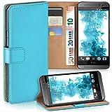moex HTC One M8 | Hülle Türkis mit Karten-Fach 360° Book Klapp-Hülle Handytasche Kunst-Leder Handyhülle für HTC One M8/M8s Case Flip Cover Schutzhülle Tasche