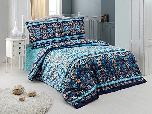 Bettwäsche 2 Teilig, Renforce-Baumwolle, Reißverschluss, 135x200 cm, Blau, Muster (Muster Blau Bettwäsche)