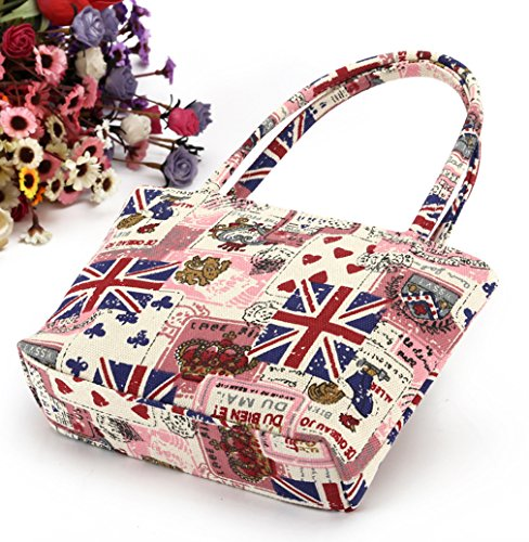 EOZY Damen Mädchen Tote Handtasche Bags Schultertasche Lunch Kosmetik Beutel (Eulen Rosa) UK Flagge