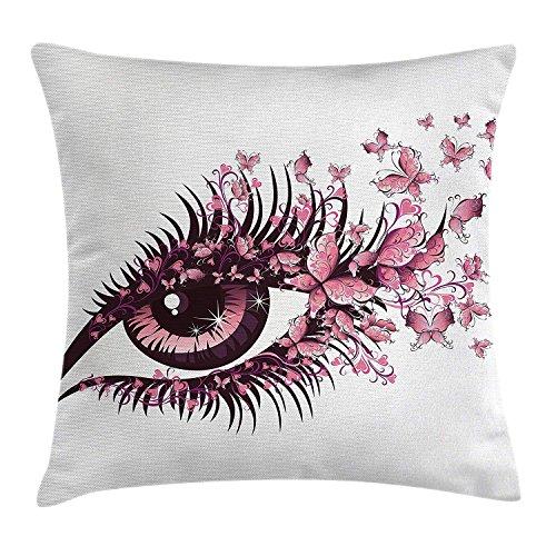 ZHIZIQIU Butterflies Throw Pillow Cushion Cover, Fairy Female Eye with Butterflies Eyelashes Mascara...