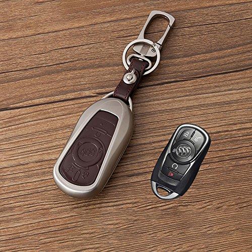 Beamseed Auto Schlüssel für Buick Lacrosse-Verano envision (Die, Allradantrieb keycase Zinklegierung. Metall mit Logo mit Displayschutzfolie aus echtem Leder, Lacrosse Brown (Schlüsselanhänger Leder Brown Logo)