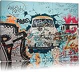 Trabant durch die Wand, Trabi DDR Kult Format: 100x70 auf Leinwand, XXL riesige Bilder fertig gerahmt mit Keilrahmen, Kunstdruck auf Wandbild mit Rahmen, günstiger als Gemälde oder Ölbild, kein Poster oder Plakat