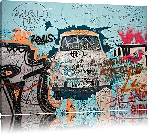 Pixxprint DDR Kult Auto 100x70cm Leinwandbild Wandbild Kunstdruck