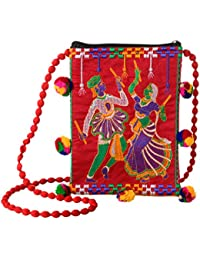 Para Navratri Work And Embroidary Work Sling Bag For Girls , Red