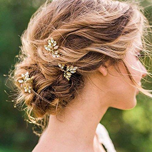 Aukmla Clip per capelli acconciatura nuziale \u2013 Accessori per capelli per  donne e ragazze, cristalli e perle, colore oro (confezione da 3)
