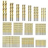 SYCEES 99 tlg HSS Bohrer Set 1,5mm - 10mm Titanium Metallbohrer Spiralbohrer Handspiralbohrer Bohrersets Werkzeuge