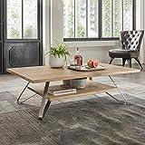 Pharao24 Wohnzimmer Tisch mit Massivholzplatte in Eiche Bianco Edelstahlgestell