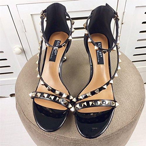 weibliche 2 mit schönen sommer sandalen mit einem hohlen rivet alle treffer der schuhe sexy heels schuhe Schwarz