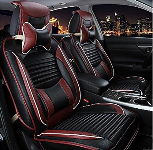DIELIAN Luxus PU Leder Auto Sitzbezüge 5 Sitze Full Set Universal Fit Leicht zu reinigen Anti-Rutsch Vier Jahreszeiten Auto Sitzkissen, Black