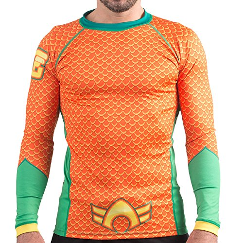 Für Aquaman Kostüm Erwachsene - Fusion Fight Gear Aquaman-Kostüm für Erwachsene, Kompressionsshirt BJJ Rash Guard, Herren, Orange, Small