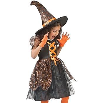 Funny Fashion Costume da Strega Glenda per Bambini per Ragazze - Vestito  Nero e Cappello da 3a27d8c428c1