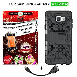 TheGiftKart Combo For Samsung Galaxy A7 (2016) (Combo of 1 Back Cover + 2 Tempered Glass + 1 OTG Cable) - TheGiftKart Tough Hybid Dual Layer ShockProof Armor with Kick Stand Back Case Cover (Black) + 2.5D 0.3mm HD Tempered Glass Screen Protector + OTG Cable