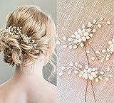 Bridal Hair Pins - 3pcs Fashion Retro Elegant Ladies Pearl Rhinestone Hair Accessories for Wedding Bridal Jewelry Bridal Hair Accessories Headpiece Wedding Accessories (3PCS)