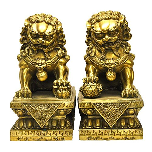 Liangliang988 Par de Leones de Bronce de Latón Puro para casa de Huevos de la Suerte, Regalos para Decoración del hogar
