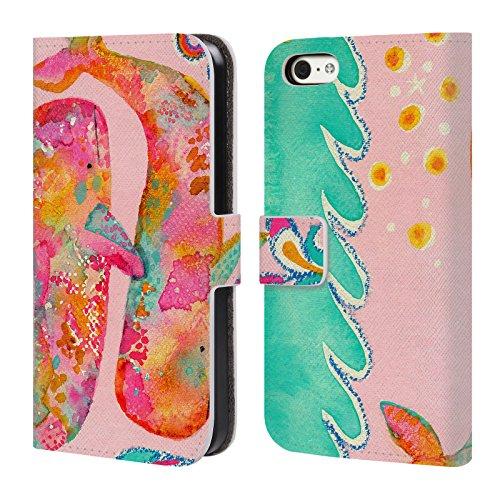 Ufficiale Wyanne La Mucca Sulla Luna Animali 2 Cover a portafoglio in pelle per Apple iPhone 5 / 5s / SE Balene Rosa
