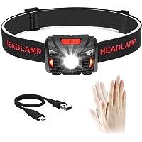 Winzwon USB Wiederaufladbare LED Stirnlampe Kopflampe, Wasserdicht Leichtgewichts Mini stirnlampen Perfekt fürs Laufen…
