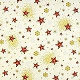 Fabulous Fabrics Weihnachtsstoff Sterne – wollweiss — Meterware ab 0,5m — Oeko-Tex Standard 100 — zum Nähen von Outdoor-Deko, Tischdekorationen und Kissen und Tagesdecken