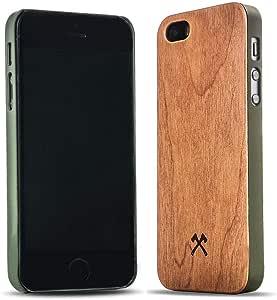 Woodcessories - Hülle kompatibel mit iPhone 5/ 5s/ SE (2016) aus Echtholz - EcoCase Classic (Kirsche/Grün)