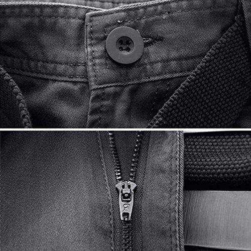 Rmine Herren Cargo Hose Viele Taschen Baumwolle Freizeithose Loose Fit Arbeitshose (ohne Gürtel) Grau