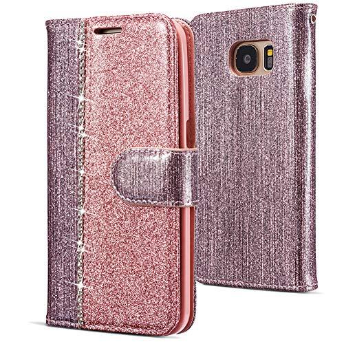 WIWJ Kompatibel mit Samsung Galaxy S7 Hülle,Handyhülle Samsung Galaxy S7,Flip Case Cover Premium Tasche[Punktbohrer Ledertasche]Handytasche Brieftasche Hülle Etui Schutzhülle-Rotgold