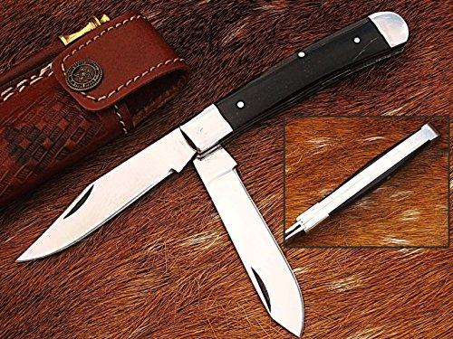 faite à la main 18 cm Trapper double lames Awesome couteau de poche pliant fabriqué avec 420 D2 en acier et poignée de corne de buffle, moins de 7,6 cm Legal de lame pour transporter, (Bdm-37)
