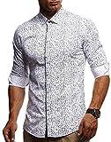 LEIF NELSON Herren Kurzarm Hemd Slim Fit Langarm Kurzarmhemd Freizeithemd Freizeit Party T-Shirt LN3455; L, Weiß