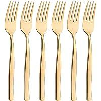 icxox Fourchette de Table, Lot de 6 Pièces, 20,7cm, Acier INOX 18/10 (Doré)