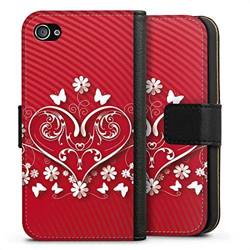 Apple iPhone X Silikon Hülle Case Schutzhülle Liebe Herz Blume Sideflip Tasche schwarz