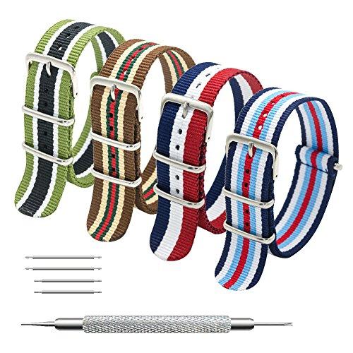 MEGALITH Uhrenarmband Packung mit 4 NATO Strap 16mm 18mm 20mm 22mm 24mm Ballistic Nylon Uhr Armband Zulu Uhrband mit Edelstahl Schnalle Nylon-armband