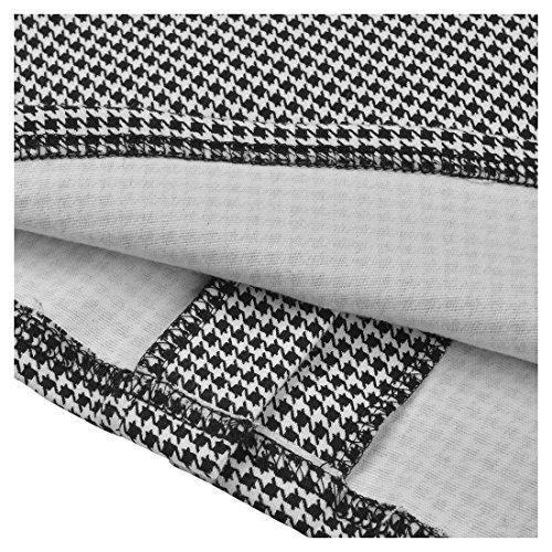 Miusol Damen 3/4 Arm Schoesschen?Cocktailkleid Hahnentrittmuster 1950er Jahre Business Stretch Kleid Grau Gr.L -