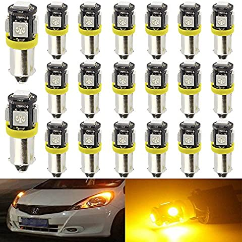 20-Pack T4W BA9S BA9 12146 1445 1705 Amber / Yellow LED Light 12V,AMAZENAR 5 SMD 5050 Chipset Car Interior Replacement 6253 64111 Bulb For Map Dome Courtesy Trunk License Plate Glove Box Side Marker Light