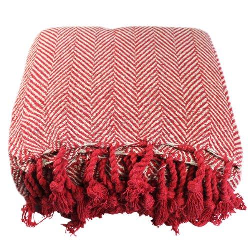 About home a spina di pesce 100% cotone con frange, colore: rosso/naturale, 178x 250cm