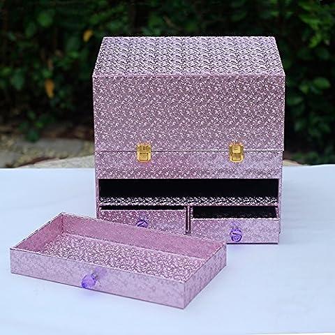 AQPDJ Escritorio de madera admitir cosméticos cosmética multifunción cartucho organizará con tapa Caja de cosméticos ,E4 Zi Ley incienso color de línea