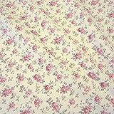 Stoff Baumwolle Rosen rosa ecru Cretonne Nessel creme Mille Fleur Streublümchen