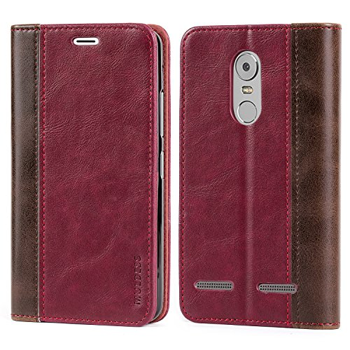 Mulbess Leder Tasche im BookStyle und 3 Kartenfach für Lenovo K6 Hülle Flip Case Cover,Wein Rot