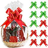 Aneco 10 Pack Large Clear Cellophane Wrap Christmas Clear Basket Bags Pull Bow Set 30 x 44 Inches Wrap Basket Bags for Gift Baskets
