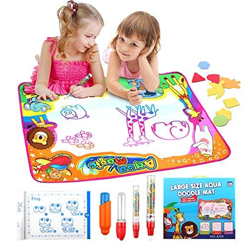 StillCool Wasser Doodle Matte Wasser Zeichnung Wiederverwendbare für Kinder Mädchen Jungen Educational Gift 86 x 57cm Mit 8 Stirbt 4 verschiedene Stifte 1 Bildband (Weiß)