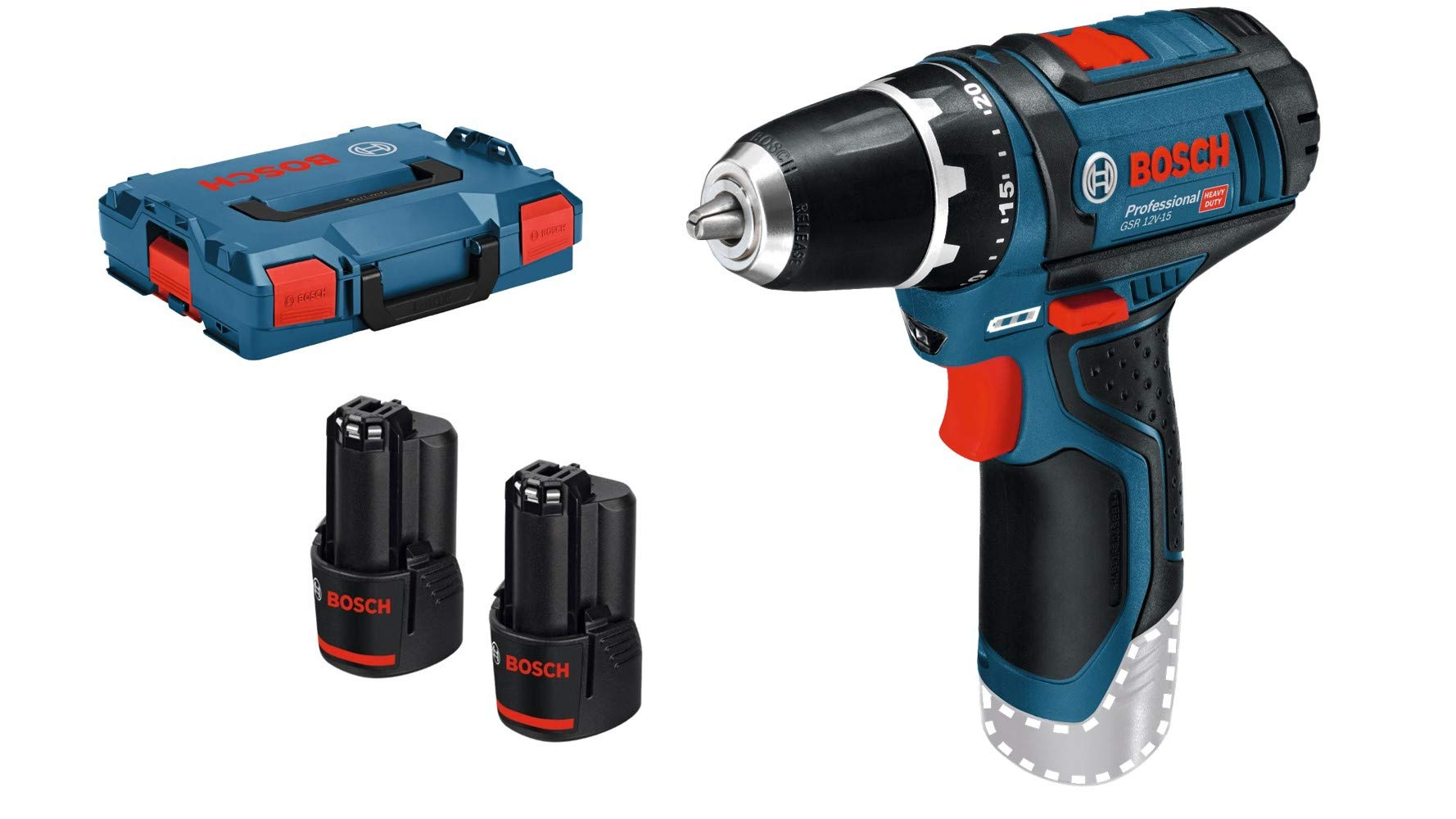 Bosch Professional Akkuschrauber GSR 12V-15 (2×2,0 Akku, 12 Volt, 39tlg. Zubehör-Set, SchraubenØ max: 7mm, in Tasche)