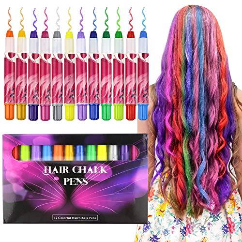 Buluri Haarkreide Non-Toxic 12 Farbe Natürliche Haare Kreide Stifte Temporäre Haarfarbe für Mädchen, Perfektes Geschenk für Karneval, Weihnachten & Geburtstag (Colorful Package) - Geburtstag Kinder-goldenen