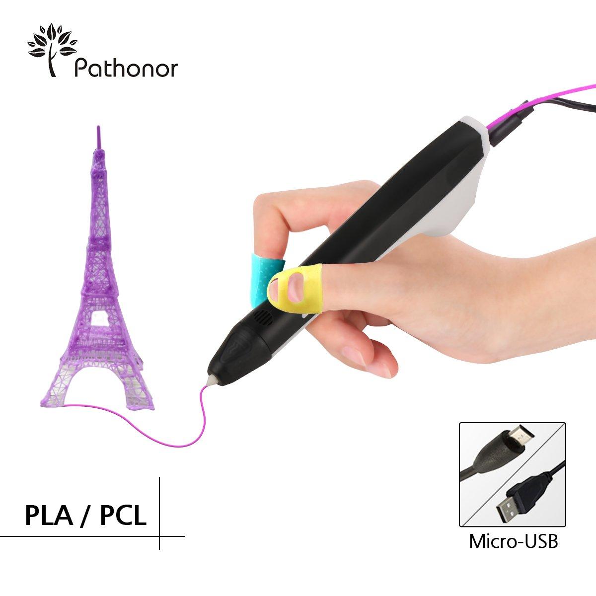 Pathonor 3D Stylo d'impression PCL/PLA Non-Toxique 3D Pen pour Enfant et Adulte avec 2 Paquets de 3D Filament et 2 Manchon de Doigts Le Cadeau Idéal pour Petits Enfants