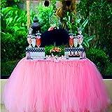 Tutu Tabella Gonna, Decorazioni Per Party Tutu Tulle Abito da Tavolo Adatto Per Festività di Festa di Compleanno Decorazione Decor Bambini e Bambine Preferite——Fiori di spago di carta gratuiti(rosa)