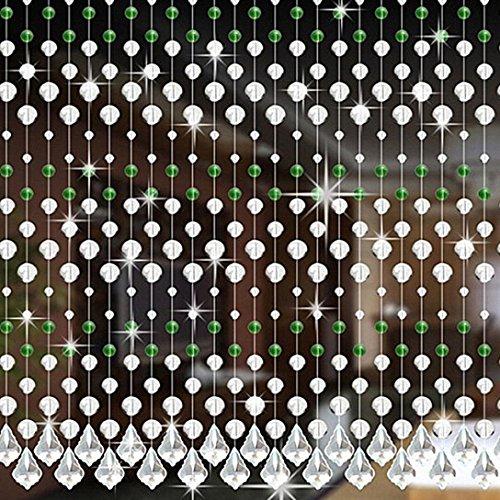 Kristall Glas Korn Vorhang HARRYSTORE Luxus Leben Zimmer Schlafzimmer Fenster Tür Hochzeit Dekor (H) (Strand-taschen-teppich)