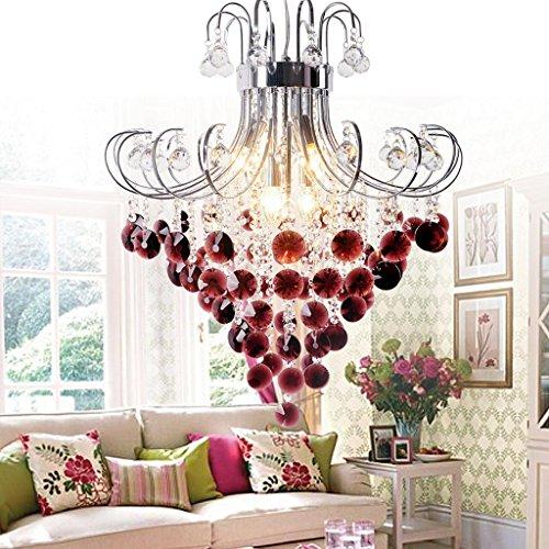 Luxus Hängelampe Kristall-Pendelleuchte E14 Moderne Runde Design Leuchte Anhänger Kristall Rote kronleuchter Innen Decke Beleuchtung Kristalllampe Hängeleuchte für Wohnzimmer Decor Lüster , Ø 60 cm