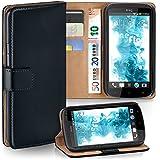 OneFlow Tasche für HTC One X / X+ Hülle Cover mit Kartenfächern | Flip Case Etui Handyhülle zum Aufklappen | Handytasche Schutzhülle Zubehör Handy Schutz Bumper in Schwarz