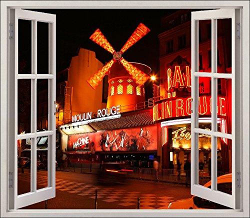 StickersNews Wandtattoo Fenster Irre L Auge Das Moulin Rouge OEM 5449, 120x105cm