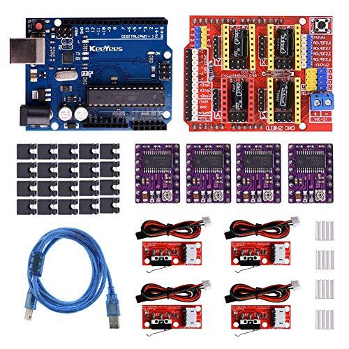 KeeYees Professional 3D Drucker CNC Kit mit Tutorial für Arduino, CNC Shield V3 mit Jumper Kappen + RAMPS 1.4 Mechanical Switch Endstop & DRV8825 GRBL Schrittmotor Treiber