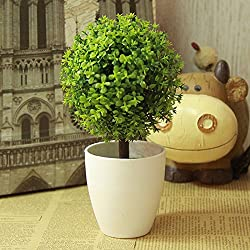 Artificial Topiario Planta en Maceta Jardín Hogar Bonsai Decoración (Verde)