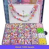 iSuperb Surtidos Abalorios 1000 Piezas Colores Cuentas Surtidos Joyería para Joya DIY, Fabricación de Pulsera, Collar, Juguetes para Niños (A)